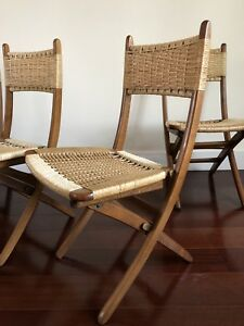 Set of 4 Vintage folding woven rope chairs