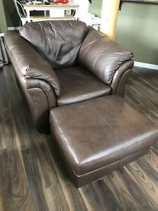 Dark Brown Bonded Leather Chair and Ottoman