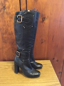 Chloe 38 Pebbled Leather Black Paddington Tall Boots 7.5 US