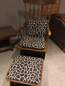 Solid wood rocking chair and foot stool