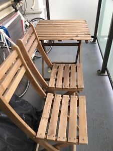 Ikea patio wooden table & 2 chair set