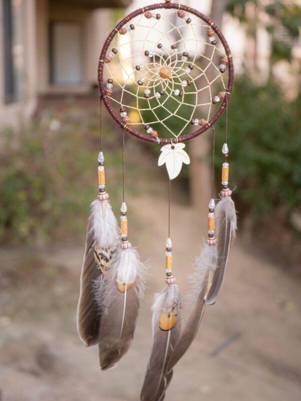 Leaf & Wooden Beads Native American Dream Catcher Dreamcatcher Wall Hanging