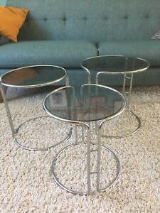 Mid century glass and chrome nesting tables