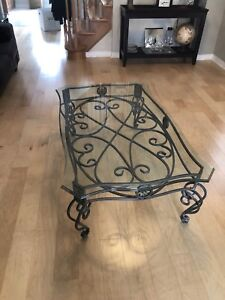 Rod Iron and Glass Coffee Table