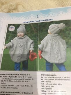 Child's Handknitted Poncho and Hat Set