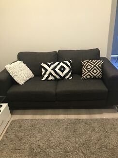 2 x Grey fabric lounges $400 for both