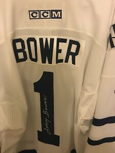 Signed Johnny Bower Toronto Maple Leaf Jersey