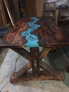 Dining table . Resin river