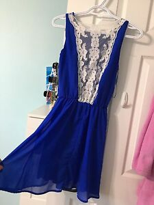 Women's blue and white lace dress