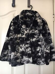 Black and Grey Fur Jacket - Size 14 Catherine Field Camden Area Preview
