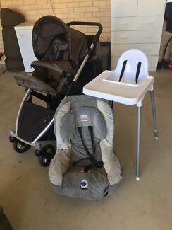 Double pram Strider Plus, High Chair, Car Seat