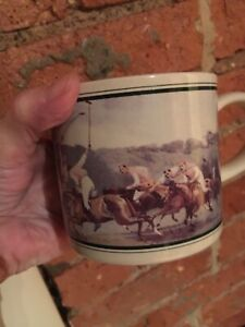 2 Unused coffee mugs with polo playing theme