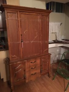 Solid brown wood hutch