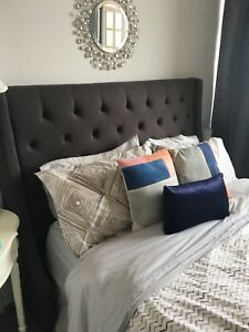 Upholstered Tufted Headboard - Queen Bed