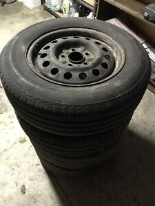 """15"""" wheels 5x114.3pcd with near new tyres!"""