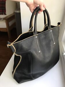 Roots Leather Raw Edge Tote