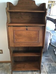 Antique Oak Secretary Desk with Beaded Wood Trim