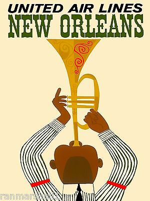 New Orleans Louisiana Jazz 2 Vintage United States Travel Advertisement Poster