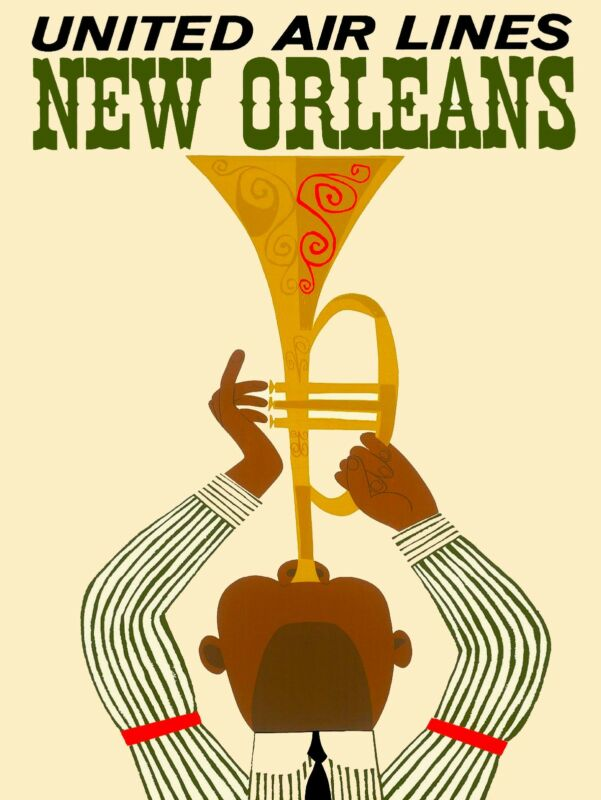 New Orleans Louisiana Jazz 2 Vintage United States Travel Advertisement Poster