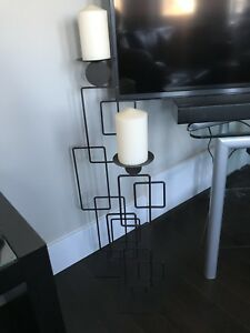 EUC Brown Wrought Iron Candle Holder Set