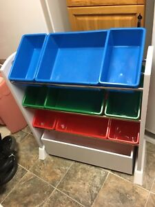 toy organizer with bins and drawer on wheels