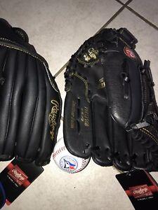 L & r baseball gloves, baseball hat and blue jays logo baseball