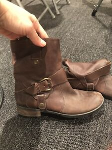 Genuine distressed leather ankle boots