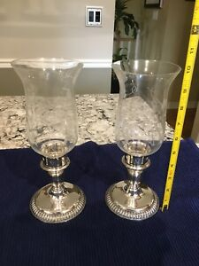 Beautiful Silver Hurricane Candle Holders