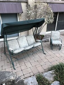 3 seater swing with awning and rocking chair with seat padding