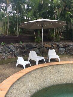 3 x IKEA Outdoor chairs - white- great for by pool etc