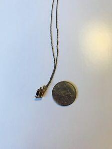 """Genuine Garnet & tiny diamonds in solid 10 key w/ SS 18""""chain"""