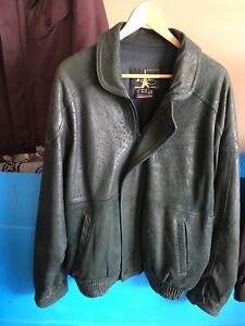 Mens leather coat (large) Dark green Like new $25