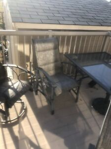 Patio set with 6 chairs and umbrella. $150