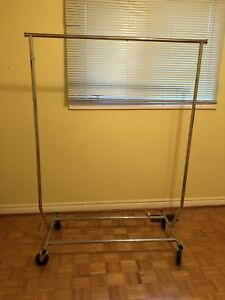 Metal clothing rack foldable collapsable on wheels