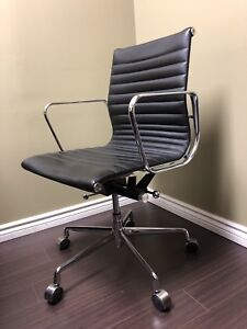 Eames Style Office Chair Genuine Leather Black