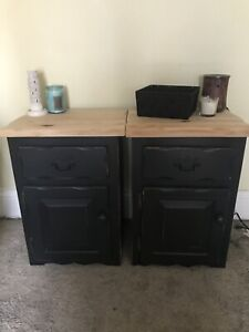 Refinished Black Nightstands