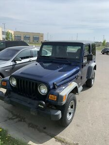 2002 Blue Jeep TJ Wrangler Leather Low KMs