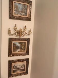 Three oil paintings with chandelier