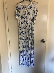 Blue and white boho maxi dress size 8-10 worn once Highgate Hill Brisbane South West Preview