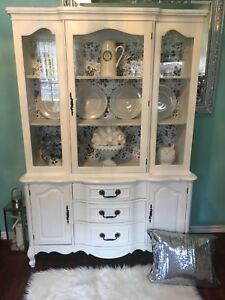 Gorgeous Antique French Provincial Shabby Chic China Cabinet
