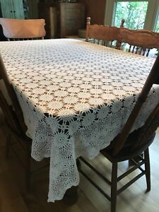 """Crochet Tablecloth 60"""" wide by 78"""" long"""