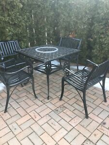 Solid iron patio table and chairs