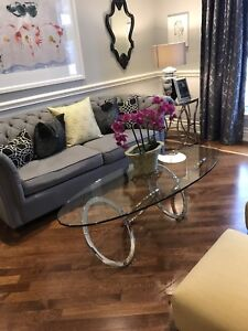 Art Deco - Chrome and Glass living room table