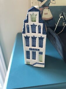 Rare Bank Delft Miniature House Blue Pottery Coin Bank Holland