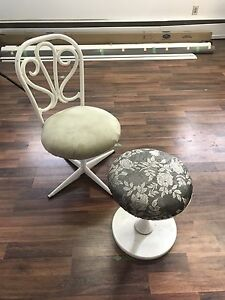 White Metal Chair & Stool