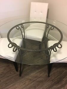 Round Glass top table and black metal base