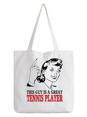 Tennis Player Tote Bag Shopper Best Gift Sport Team Cool Racket Coach Grass