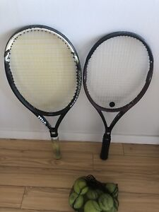 Two Wilson tennis rackets with balls