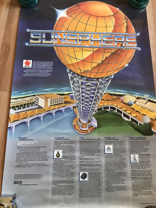 Vintage 1982 Worlds Fair Knoxville Tennessee Sunsphere Poster