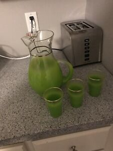 Glass pitcher with 3 glasses